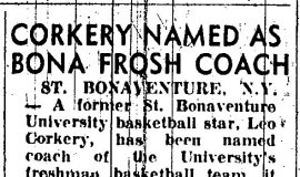 Corkery Named As Bona Frosh Coach. October 4, 1955.