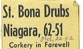 St. Bona Drubs Niagara, 62-51.  February 26, 1952.