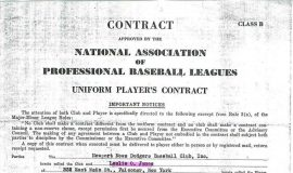 Les James baseball contract (page 1). April 6, 1945.