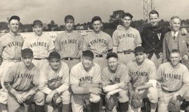 The 1943 Vikings included four CSHOF inductees: Les James in front row, far left; Leo Squinn in back row, far left; Lyle Parkhurst in back row, third from right; and Louie Collins in back row, far right.