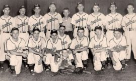 Les James, back row, third from right, with the 1946 Steel Partition Bombers.