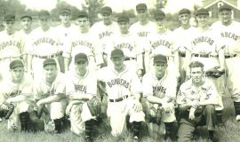 1947 Jamestown Steel Partition Bombers. BACK ROW: Laurie LaJohn, Les James, Lefty Pratt, Elly Norton, Frank Walker, Lou Brown MIDDLE ROW: Bob Fredo, Dick Ressler, Rog DuBois, Joe Bender, Don Nagle, Bob Brown FRONT ROW: Ralph Mee, Warren Mee, Les Town, Joe Nagle, Bob Bender, Ralph Mallare (business manager).