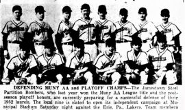 Defending MUNY AA And Playoff Champs. May 8, 1953.