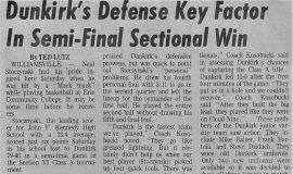 Dunkirks Defense Key Factor In Semi-Final Sectional Win. 1973.