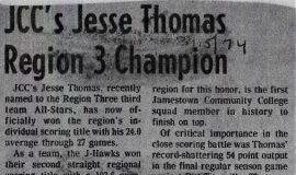 JCC's Jesse Thomas Region 3 Champion. March 15, 1974.