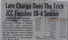 Late Charge Does The Trick JCC Finishes 30-4 Season. March 11, 1975.