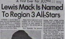 Lewis Mack Is Named To Region 3 All-Stars. March 15, 1975.