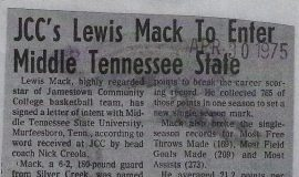 JCC's Lewis Mack To Enter Middle Tennessee State. April 30, 1975.