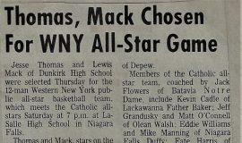 Thomas, Mack Chosen For WNY All-Star Game. 1973.