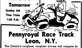 Ad for Pennyroyal Speedway (Leon, NY), 1949.