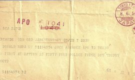 Telegram Lloyd sent to his nephew Don Mara, who was in the Army, telling him that he won the June 6, 1954 Metropolitan 300 ARCA race at Dayton Speedway (Ohio)