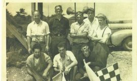 Lloyd Moore is standing on far left in back row. Photo taken at Penny Royal race track, Leon, NY circa 1948.