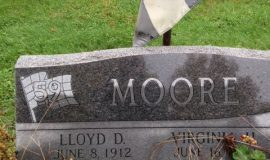 Lloyd Moore's burial marker, Maple Grove Cemetery, Frewsburg, NY.