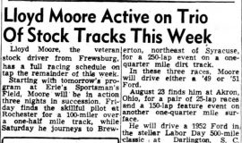 Lloyd Moore Active on Trio Of Stock Tracks This Week. August 13, 1952.