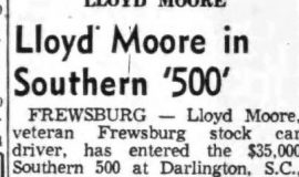 Lloyd Moore in Southern '500'. August 27, 1955.