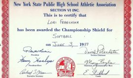 Section VI Softball Championship certificate. 1989.