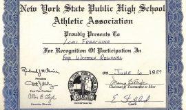 Far West Regional Softball participation certificate.  1989.