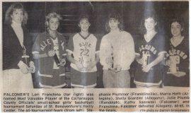 Cattaraugus County Officials Basketball Tournament MVP. 1990.