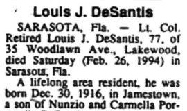 Louis DeSantis obituary.