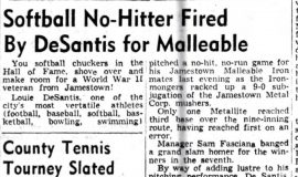 Softball No-Hitter Fired By DeSantis for Malleable. August 13, 1946.