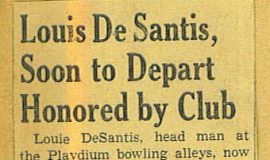 Lou DeSantis, Soon to Depart, Honored by Club. 1942.