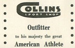 Collins Sport Shop ad 1949