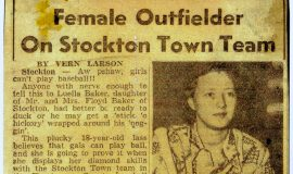 Female Outfielder On Stockton Town Team. 1950.
