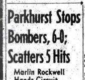 Parkhurst Stops Bombers, 6-0.  August 11, 1954.