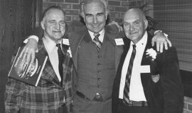 Walt Brown (left) and Lyle Parkhurst (right) with Montreal Expos manager Jim Fanning at their 1982 CSHOF induction.
