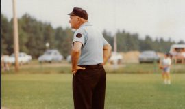 Lyle Parkhust umpiring at Danielson Field, Jamestown, NY.