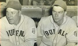 Manager Greg Mulleavy and Lyle Parkhurst, 1943 Buffalo Bisons baseball game.