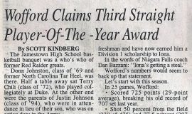 Wofford Claims Third Straight Player-Of-The-Year Award. March 28, 1999.