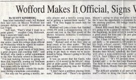 Wofford Makes It Official Signs With Iona. Page 1. April 8, 1999.