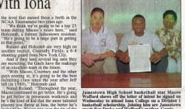 Wofford Makes It Official Signs With Iona. Page 2. April 8, 1999.