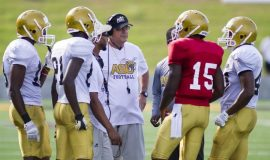 Alabama State offensive coordinator Mark Orlando directs his team. October 2015.