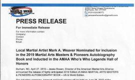<em>Martial Arts  Masters & Pioneers</em> press release..
