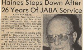 Post-Journal article from April 16, 1981 announcing Marty Haines resignation from Jamestown Area Bowling Association's secreatary-treasurer position.