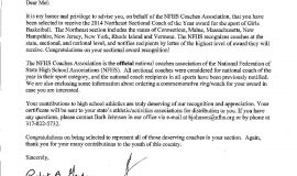 Letter notifying Mel Swanson he was  named the 2014 Northeast Sectional Coach of the Year by the National Federation of State High School Associations.