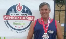 Michael Sayers competed in the 2015 National Senior Games and place second in the  Mens Javelin, ages 60-64.