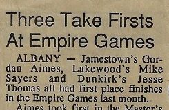 Three Take Firsts At Empire Games. Circa 1990.
