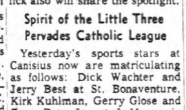 Spirit of the Little Three Pervades Catholic League. January 24, 1963.
