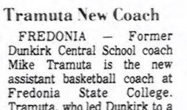Tramuta New Coach. October 17, 1974.