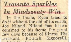 Tramuta Sparkles In Mindszenty Win. 1960.
