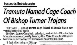 Tramuta Named Cage Coach Of Bishop Turner Trojans. 1980.
