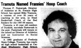 Tramuta Named Frannies' Hoop Coach. March 19, 1987.