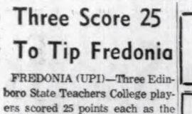 Three Score 25 To Tip Fredonia. March 2, 1961
