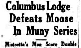 Columbus Lodge Defeats Moose In Muny Series. September 18, 1933.