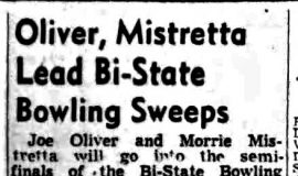 Oliver, Mistrett Lead Bi-State Bowling Sweeps. <em>Post- Journal</em> (Jamestown), January 11, 1949.
