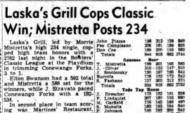Laska's Grill Cops Classic Win; Mistretta Posts 234. October 5, 1949.