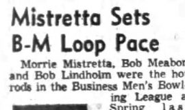 Mistretta Sets B-M Loop Pace. November 12, 1953.